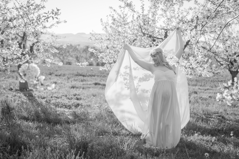 Schwangerenbilder, Babybauchfotos, Neuwied, Schwangerschaftsfotografie, Apfelblüte,